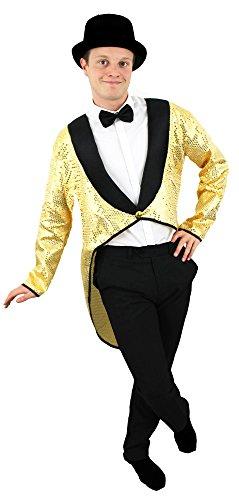 FRACK/TAILCOAT IN GOLD MIT PAILLETTEN MIT ODER OHNE HUT IN 6 VERSCHIEDENEN GRÖSSEN = TOLLES TANZ ODER STEPTANZ KOSTÜM DER SUPERKLASSE = VON ILOVEFANCYDRESS®= IN DER GRÖSSE : S - (Fancy Rogers Ginger Kostüme Dress)