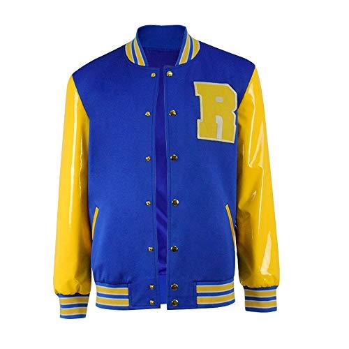 Kostüm Archie Andrews - BellaPunk Herren Archie Andrews Cosplay Jacke Kostüm mit Leder Ärmel (Herren 3XL, Jacke)