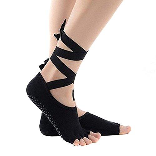 Butterme Yoga Socken-Yoga Pilates Barre Socken Non Slip Skid Toeless Grip Socken mit Silk Ribbon für Frauen & Mädchen (Open Natürliche Toe)