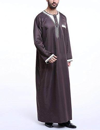 YCHENG Uomo T-shirt Musulmano Embroidered Middle East Thawb Kaftan Abaya Manica Lunga Arabo Turkish Robe Marrone