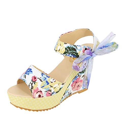 Damen Sandalen Fzitimx Sommer Damen Blumen Druck Schnürung Sneakers Sandalen Plateau Dicke unten Keilsandalen Knöchelschnalle Sandalen 40 weiß Schnürung Design