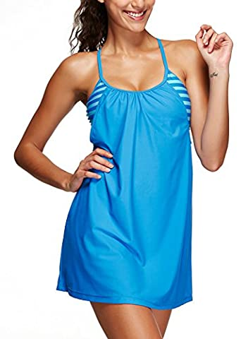 Azue 2 Pieces Tankini Set Criss Cross Back Swimdress Stripe Swimwear with Shorts UV Protection Swimsuit UV Protection Bikini Set Sea Sky Blue Stripe S (US Size 0-2)