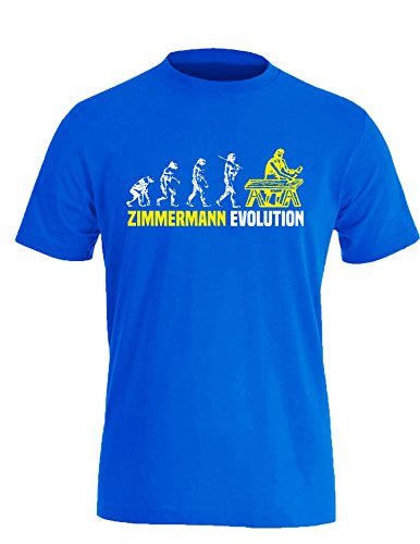 Zimmermann Evolution - Cooles Geschenk für Zimmerer - Herren Rundhals T-Shirt Royal/Weiss-neongelb