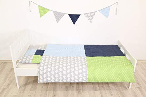 Garnitur 100x135 40x60cm Baumwolle Blau Bärc Kinder Cretonne Bettwäsche 2 tlg