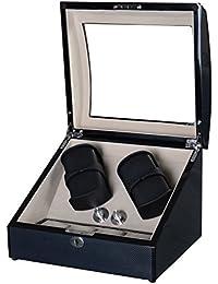 Lindberg & Sons Estuche con rotor para 4 relojes automáticos y 4 compartimentos adicionales Madera negra Cuero sintético Terciopelo color crema - UB8222blcr