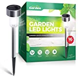 Signature Garden Stainless Steel Mini 16 Pack Solar Garden LED Lights, Battery Lasts 10 Hours, Rust, Scratch and All-Weather Resistant, Easy NO Wire Installation (Silver)