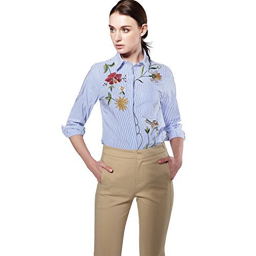 Frauen Langarm Stickerei Turn-down Casual Blue Striped Button Blumendruck Bluse Tops Shirts (Button-down-shirt Blau Gestreifte)
