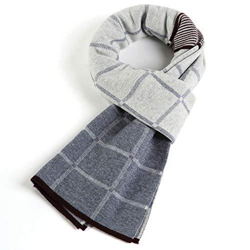 HONGNA Écharpe d'hiver pour Hommes 100% écharpe Pure Laine australienne Simple Cadeau écharpe en Laine à Carreaux Jeune boîte Cadeau 30 * 180 cm,Gray