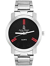 Ferry Rozer Black & Red Dial Metal Belt Analog Watch For Men's & Boy's - FR3120SL02