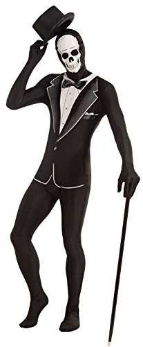 Fancy Me Mens Smart Tuxedo Skeleton Suit Halloween Jumpsuit Bodysuit Halloween Costume Outfit (Tuxedo Skeleton) - Bodysuit Tuxedo