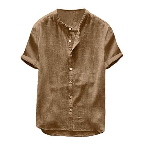 Dasongff Kurzarm Baumwollshirt Freizeithemd mit Turn-Up Ärmeln Button-down Leinenshirt Modisch Baggy Basic Fitness Bluse Sweatshirt Sommer T-Shirt
