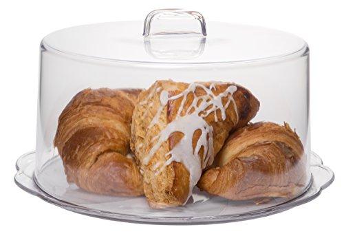 htige Kunststoff-Kuchenplatte mit Abdeckung, Dessert-Display, Cupcake- und Tortenheber mit Kuppel, 25,4 cm Durchmesser ()