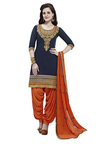 Applecreation Women\'s Cotton Salwar Suit Dress Material (3PTH3955_Blue_Free Size)