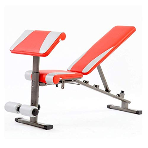 DEWUFAFA Multi-Funktions-Hantel Bank Einstellbare Höhe Schrägbank, Multi-Workout Bauch/Hyper Back Extension Bench, Startseite Krafttraining Fitness Workout Station, (Color : Red)