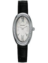 Milleret - 1000D11A161-AA6 - Anaconda - Montre Femme Acier - Lunette 56 Diamants Certifiés (0,28 ct) - Bracelet Crocodile Noir véritable