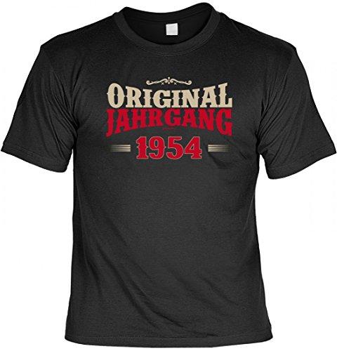 T-Shirt als lustiges Geschenk zum Geburtstag - Original Jahrgang 1954 - Geburtstagsgeschenk mit Jahrgang - Schwarz, Größe:S
