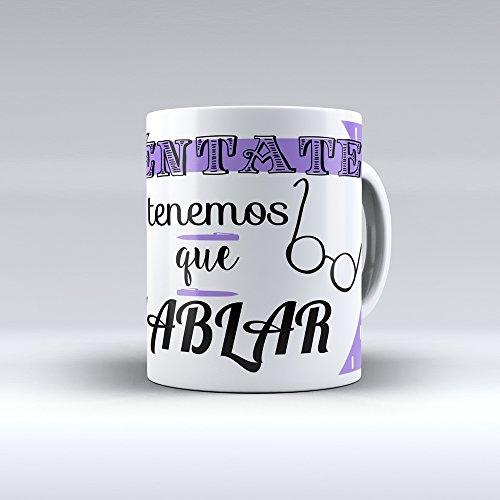 Taza cerámica desayuno regalo original profesión psicólogo psicóloga 'Siéntate, tenemos que hablar'