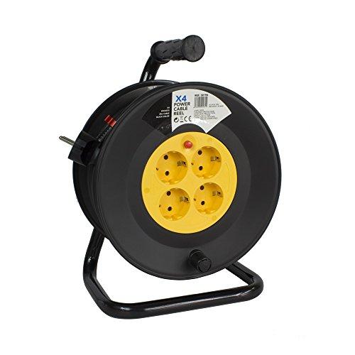 Carrete Alargador de Cable con Rebobinado Manual 25m y 4 Enchufes -...