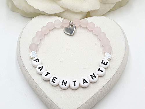 Rosenquarz Armband, Armband Patentante, Armband Geburt, Baby und Taufe, Geschenk Patin, Geschenk Paten, Geschenk Gotti