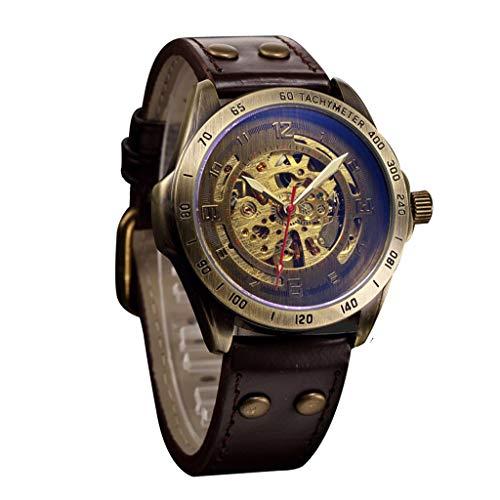 friendGG Uhren Herrenuhren Hollow Steampunk Watch Herren Leder Retro Herren Automatic Mechanical Uhren Jungen