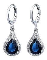 Bigood Luxury Blue Drop CZ Plated 925 Sterling Silver Hoop Dangle Earrings