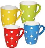 alles-meine.de GmbH 4 Stück _ Henkeltassen / Kaffeetassen -  Punkte - Bunte Farben / rot - gelb - grün - blau  - groß - 300 ml - Porzellan / Keramik - Teetasse - Trinktasse mit..
