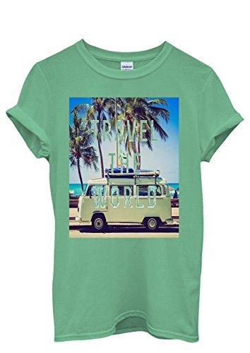 Travel the World Camper Summer Fun Mobile Men Women Damen Herren Unisex Top T Shirt Grün