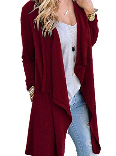 SWISSWELL Damen Strickjacke Cardigan Pullover Blazer Jacke Mantel Tops Casual Outwear Irregulär Cardigan Asymmetrisch Langarm Loose mit Taschen Weinrot L