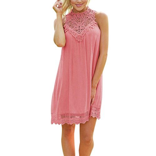 loses Kleid Hohl Bodycon Abendgesellschaft Short Mini Dress(Rosa,EU-46/CN-XL) (Sexy Star Wars Cosplay)