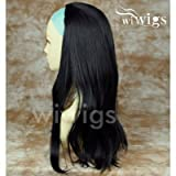 New Heat Resistant Black 3/4 Fall Hair Piece Long Straight Half Wig Hairpiece UK