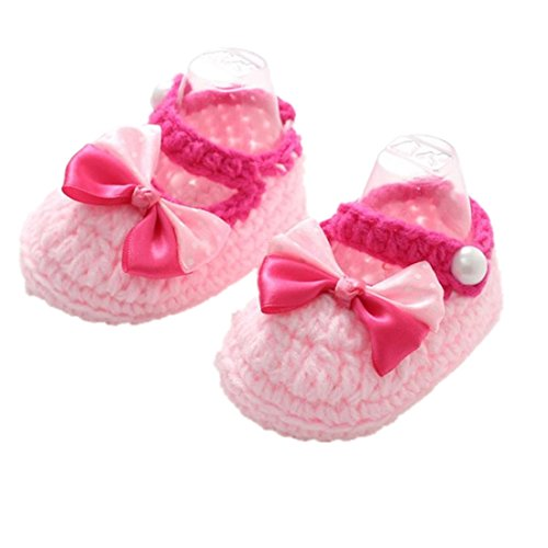 Ugg-stiefel-socken (für 0-12 Monate Baby, Ularmo Mädchen Handarbeit stricken Socke Rose Schuhe)