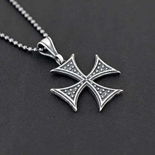 Collar de cruz de hierro de plata esterlina...