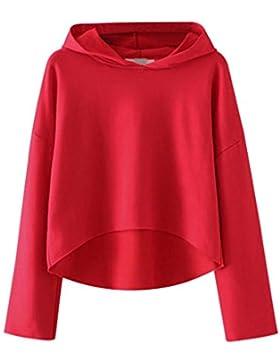 Refulgence Da Donna Manica lunga Ritaglio Irregolare Rosso Pullover Con Cappuccio