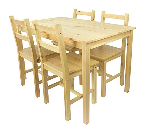 Schöne Essgruppe Set Tisch und 4 Stühlen Kiefer Esstisch Naturholz