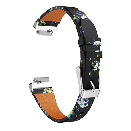 TianranRT Drucken Leder Watchen Bänder Armband Riemen Für Fitbit Inspire/Inspire HR (Grün) - Leder Glider