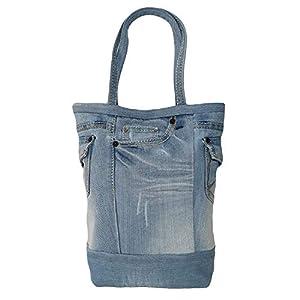 Handtasche damen Shopper damen groß blaue Handtaschen lässige Arbeitstasche mit Seitentaschen Tote bag denim Schultertasche für Frauen aus denim