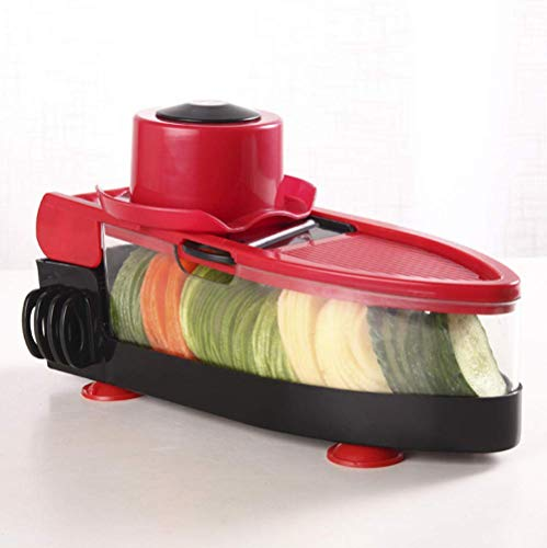 QCJ Gemüseschneider, Creative Kitchen Tools, Edelstahl-Mandoline, Shredder, Gemüseschneider, Slicer @ Red