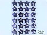 Bügelbilder-Set, 24 Motive je4,8x4,3cm, Motiv: Adventskalenderzahlen 1-24 zum bügeln, Farbe: lila, heißsiegelfähige Flockfolie auf Basis von Viskosefasern