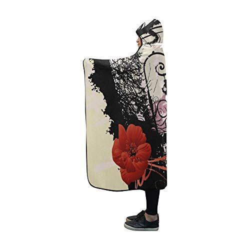 Rtosd Mit Kapuze Decke Grunge Girl Decke 60 x 50 Zoll Comfotable Hooded Throw Wrap -