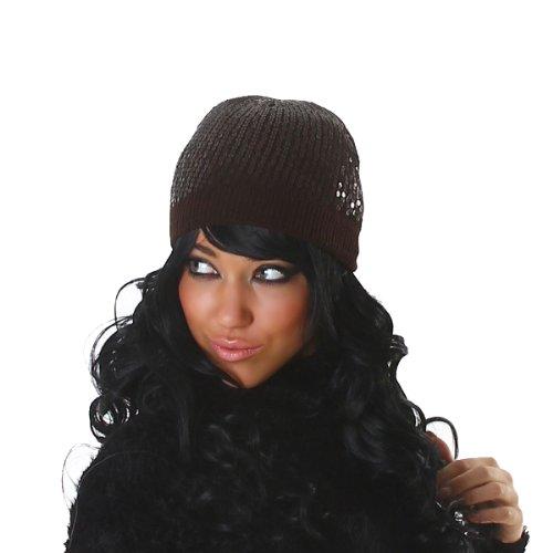 Chapeau de dames de paillettes (B-09069) Marron