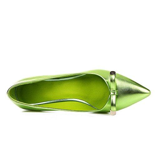 AgooLar Femme Matière Souple Tire Pointu à Talon Correct Couleur Unie Chaussures Légeres Vert