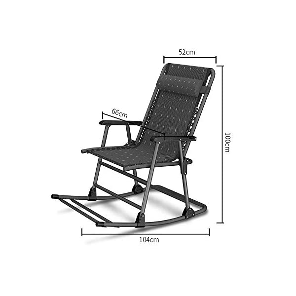 LYATW Beach Folding Rocking Chair,home Balcony Adult Recliner Nap Lazy Folding Chair Summer Leisure Chair Lazy Office Outdoor LYATW Folding chair:The seat is suspended in its frame and supports your weight evenly to help reduce pressure points. High quality pipe racks strengthen the load-bearing capacity. In addition, it also enhances the stability and safety of the deck chair. Padded pillow is adjustable and completely removable allowing it to serve as a headrest, lumbar support or for other support purposes. Space Saving:The folding design makes it space-saving when not in use. You can just fold it up to a flat piece. 2