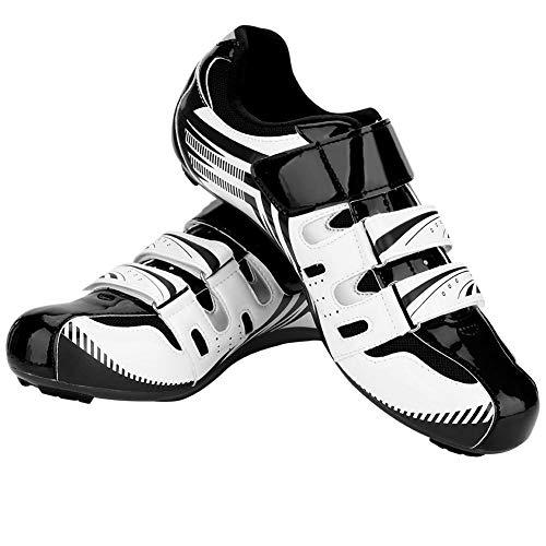 VGEBY1 Scarpe da Ciclismo, Bici da Corsa Scarpe da Ginnastica(44-Bianco)