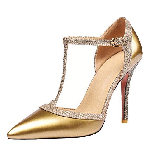 Zapatos de baile latino para mujeres de Aptro, sandalias, color Dorado, talla 38(Asia 39)