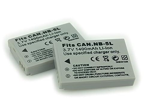 BlueBeach® 2 X NB-5L 3.7V 1400mah Batterie lithium Li-on de rechange de haute capacité pour Canon Appareil Photo Numérique IXUS / PowerShot / IXY Série