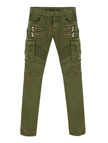 Ghope Hommes jeans Balmain star de la mode avec pli élastique de pieds mâle armée verte