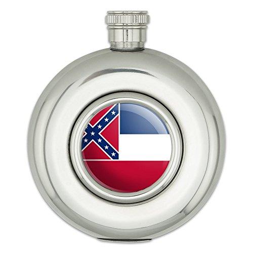 Runde Edelstahl Flachmann State Flagge Mississippi State Flag (Mississippi State Flag)