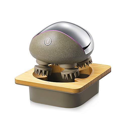 Breo Electric Portable Kopfhaut-Massagegerät IPX7 Wasserdichtes wiederaufladbares Hals- und Körpermassagegerät mit Bambus-Holz-Ladesockel, abnehmbare Massageknoten - Bambus-hals
