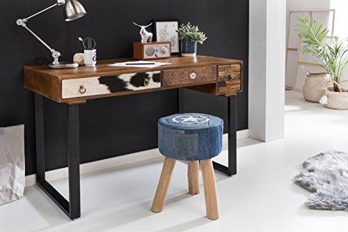FineBuy Schreibtisch Kanpur 120 x 60 x 79 cm Massiv Holz Laptoptisch Mango Natur | Landhaus-Stil Arbeitstisch mit Schubladen | Bürotisch PC-Tisch
