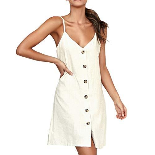 Rovinci Femme Robe à Bretelles Robe plissée au Genou sans Manches Robe de  Couleur Unie Bouton Design 6a3a1a4c2b3